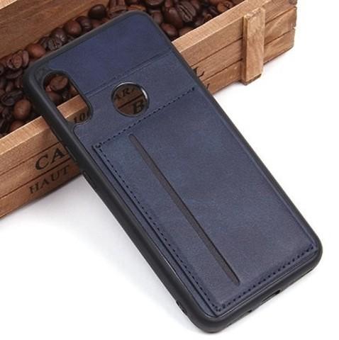 Чехол с карманом под пластиковые карты для Xiaomi Mi A2 (тёмно-синий)