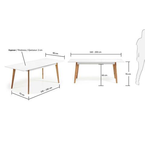 Стол обеденный Meety 160(200)x90 белый
