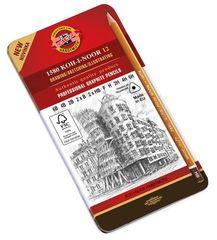 Набор чернографитных карандашей 1582, 6B-6H, 12шт, металл.коробка