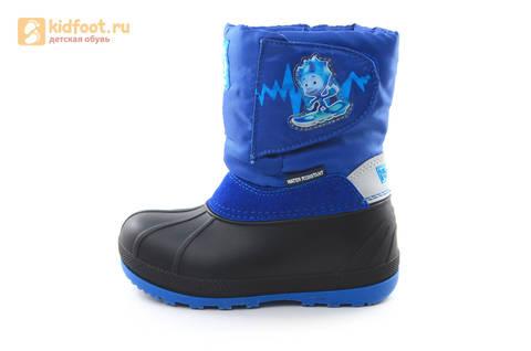 Зимние сапоги для мальчиков непромокаемые с резиновой галошей Фиксики, цвет синий, Water Resistant. Изображение 3 из 17.