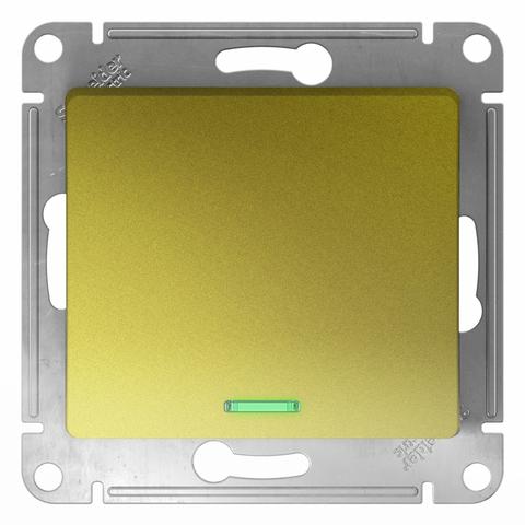 Выключатель одноклавишный с подсветкой, 10АХ. Цвет Фисташковый. Schneider Electric Glossa. GSL001013