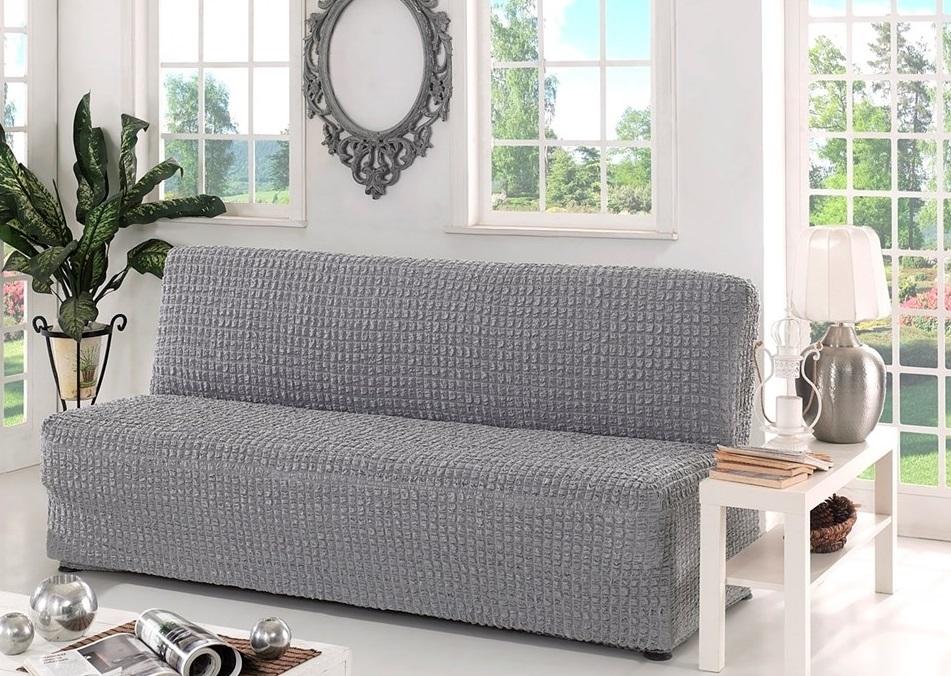 Чехол на диван без подлокотников, светло-серый
