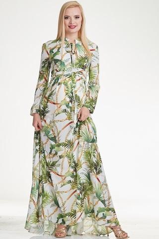Платье для беременных и кормящих 10285 зеленые пальмы