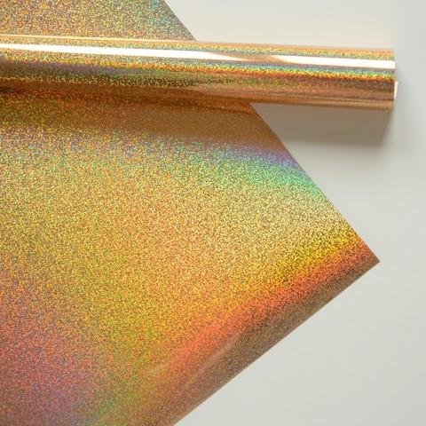 Термотрансферная пленка металлик, золото голограмма мелкая, размер отреза 25х25 см