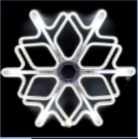 Большая фигура снежинка неон 60см с сосульками LED холодный белый