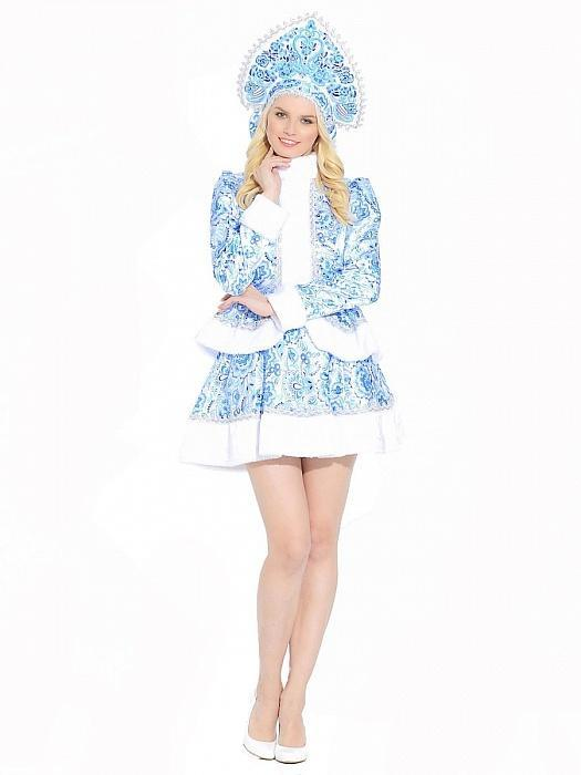 Костюм женский Снегурочка Гжель короткая