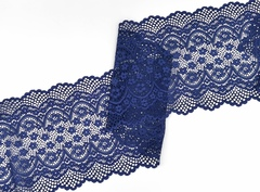 Эластичное кружево, 19 см, темно-синее (Арт: EK-1076), м