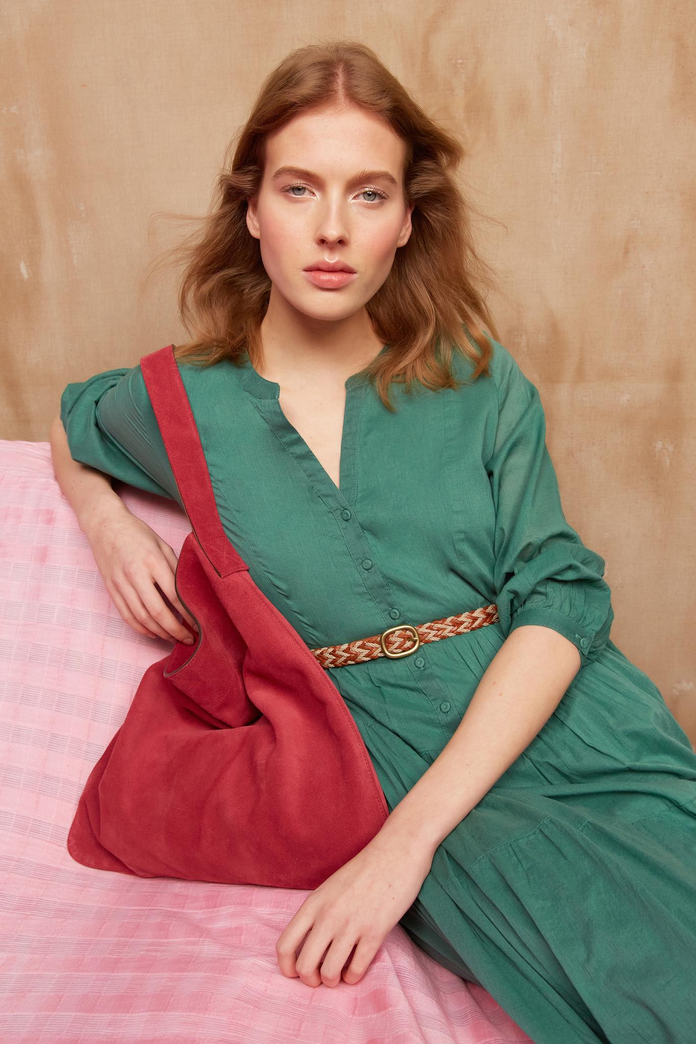 SEONA - Хлопковое длинное платье-рубашка
