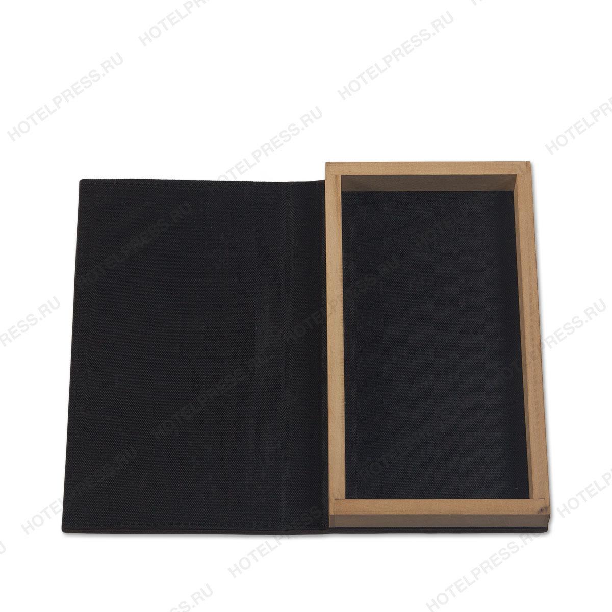 Объемная папка для счёта и денег с прошивкой и деревянной рамкой