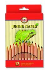 Карандаши цветные неокрашенный корпус jumbo NATUR 2172, 12 цветов