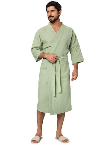 """Оливковый мужской вафельный халат для бани """"Стандарт"""""""
