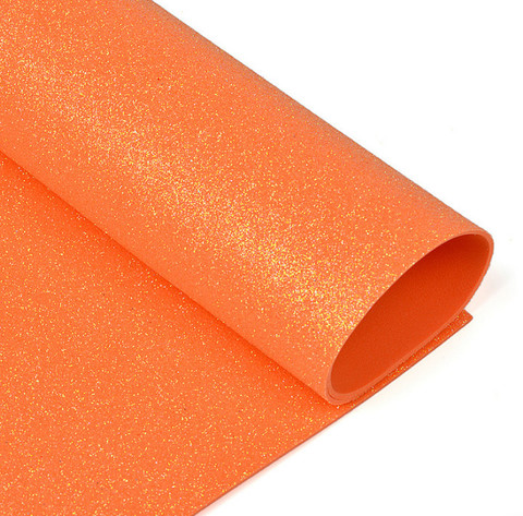 Глиттерный фоамиран. Цвет: оранжевый
