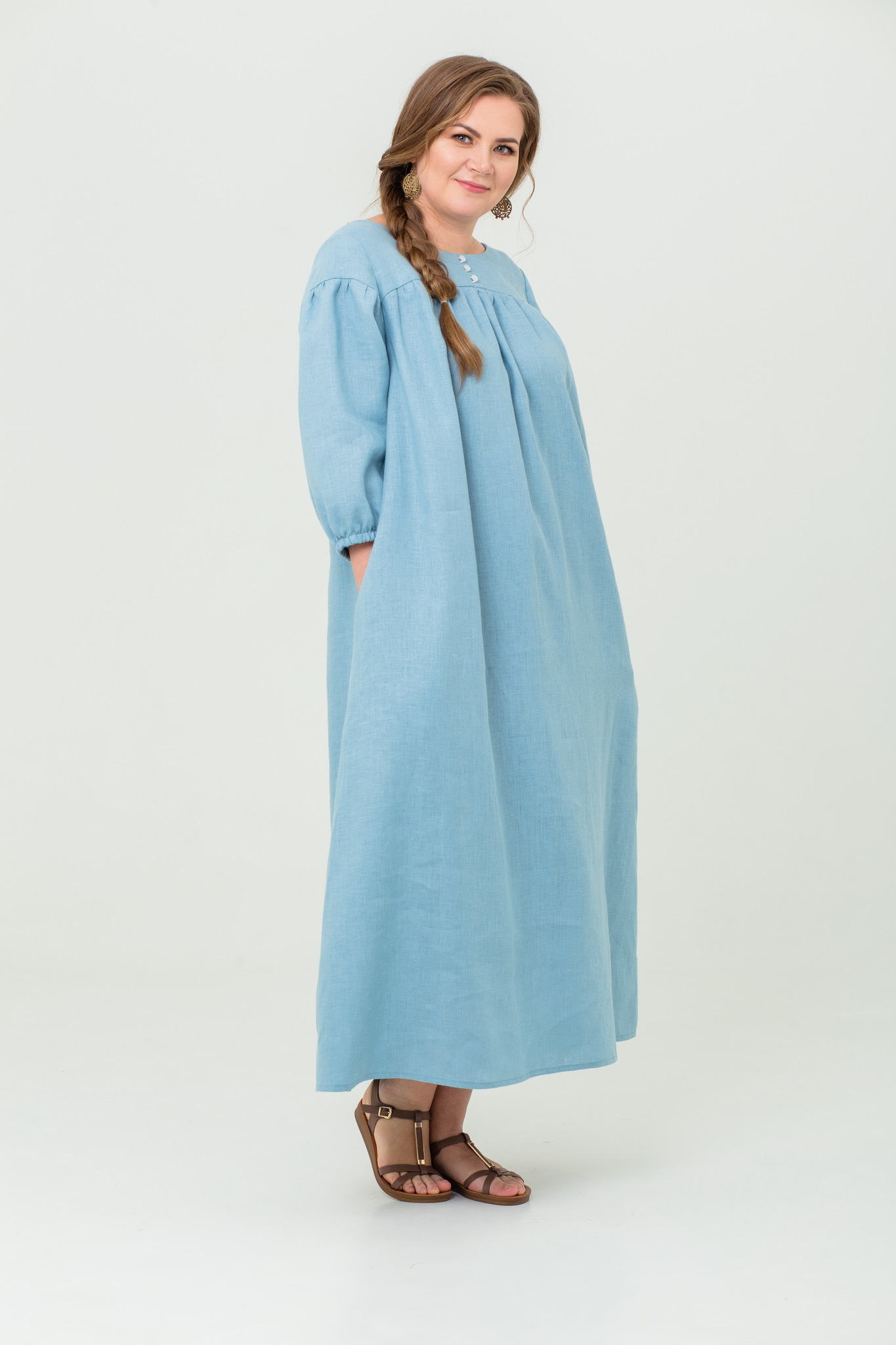 Платье льняное Босиком по росе народное