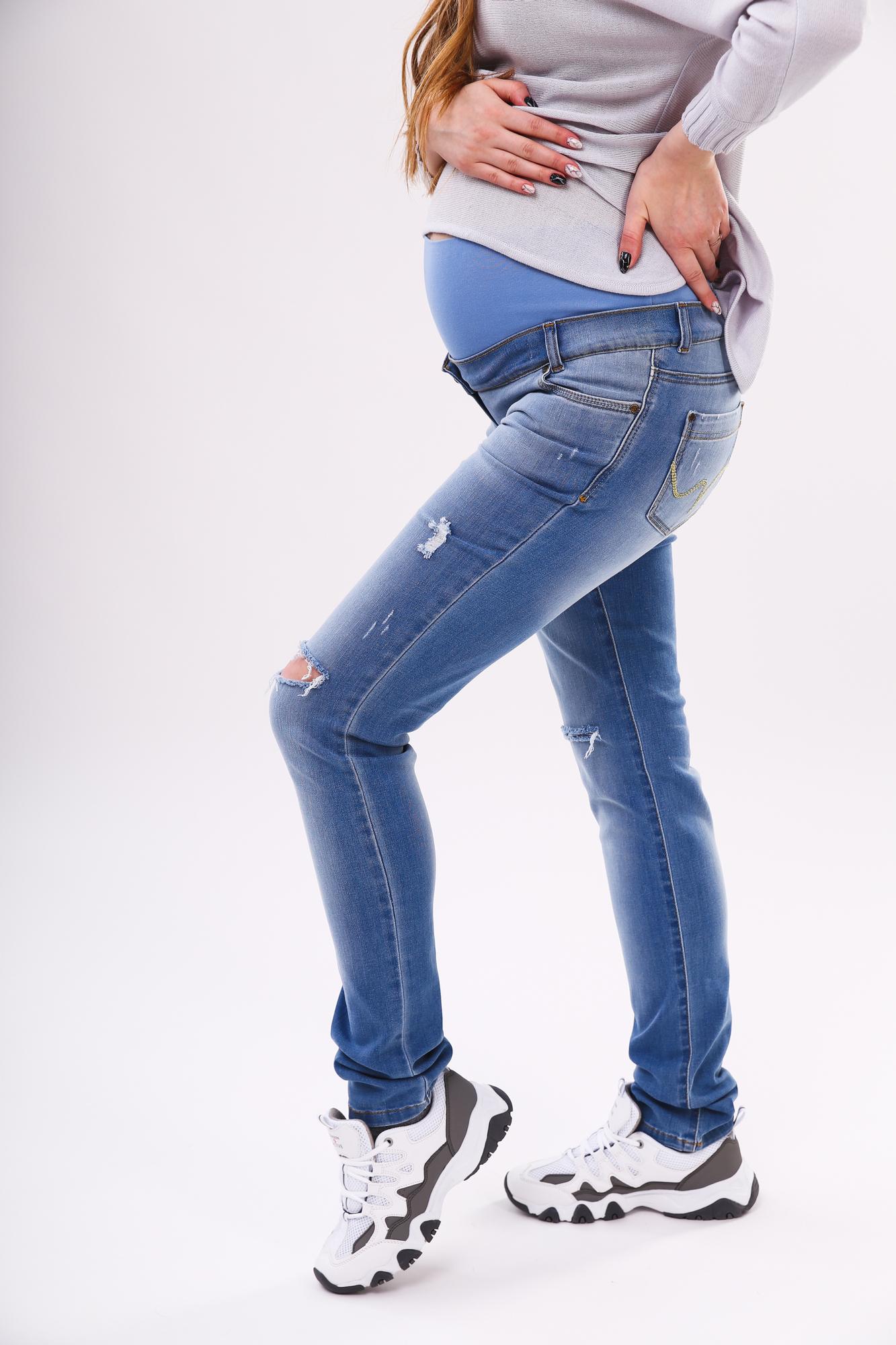Фото джинсы для беременных (SLIM) MAMA`S FANTASY, средняя посадка, высокая трикотажная вставка, тонкий деним от магазина СкороМама, синий, размеры.