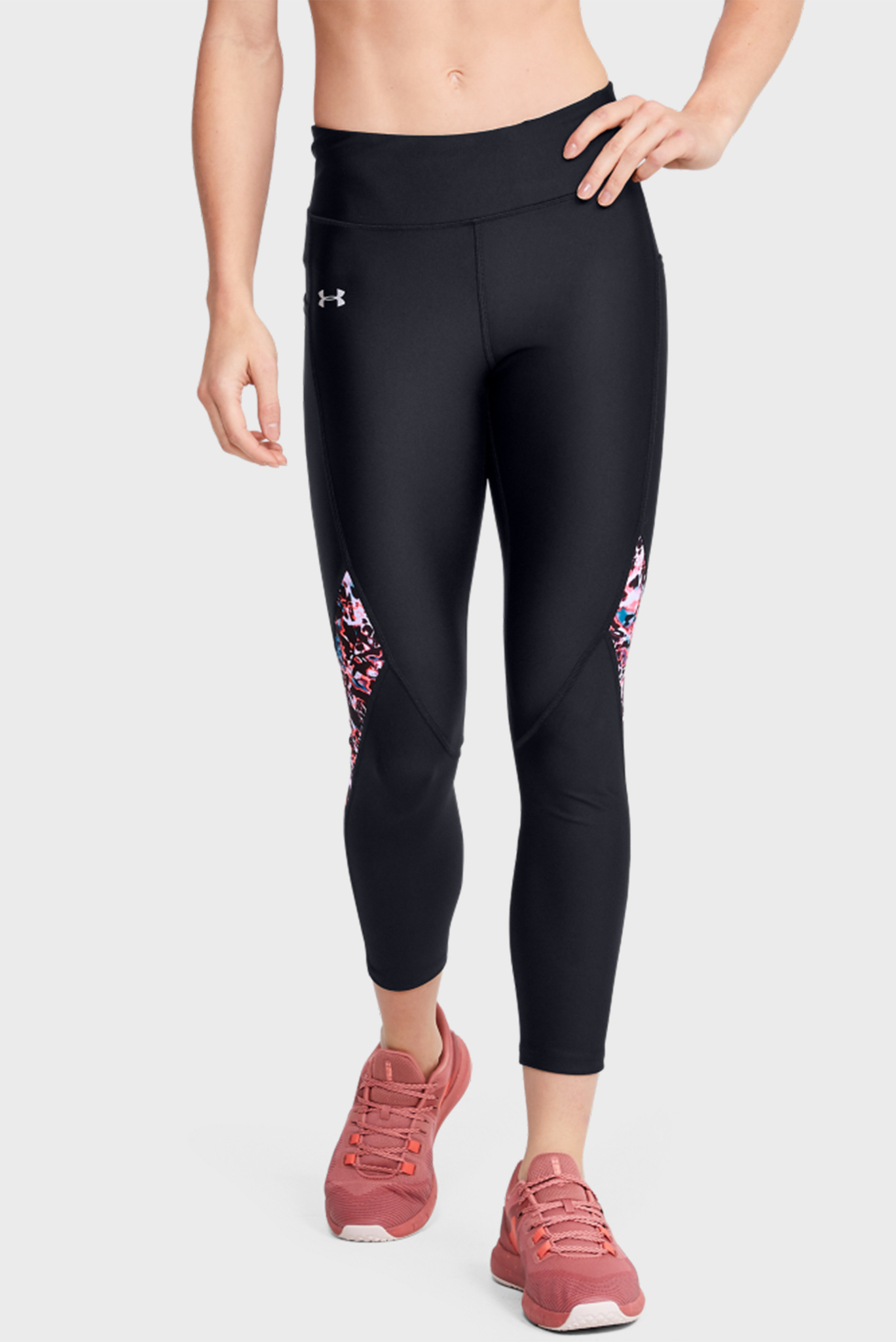 Женские черные тайтсы UA HG Armour Ankle Crop Print Inset Under Armour