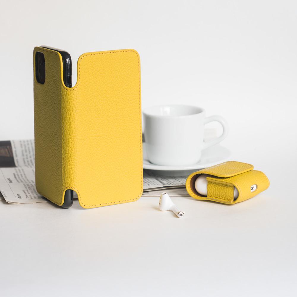 Чехол Benoit для iPhone 11 Pro Max из натуральной кожи теленка, желтый цвета