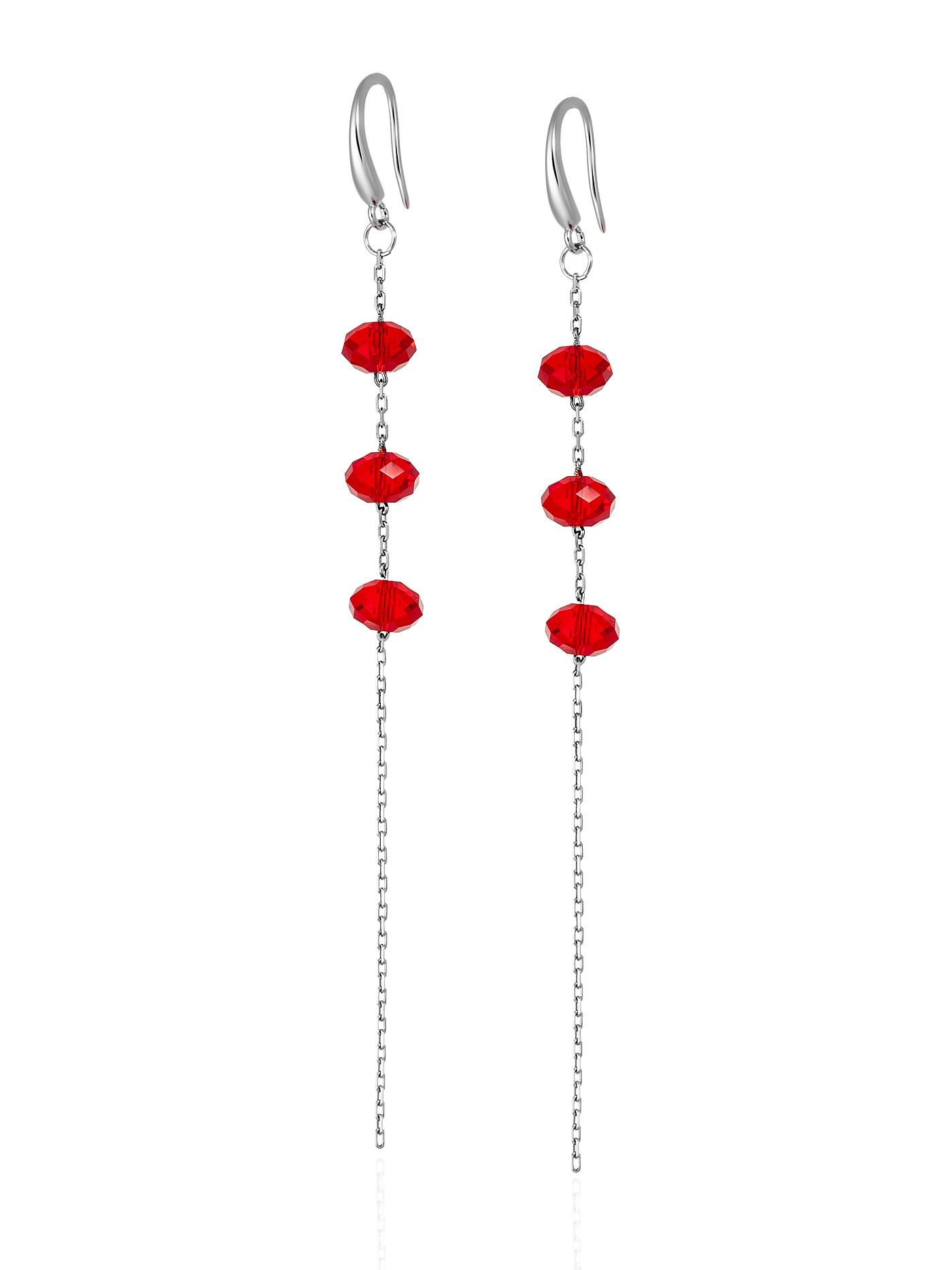 Длинные серьги с красными кристаллами Swarovski