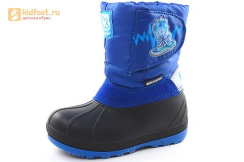 Зимние сапоги для мальчиков непромокаемые с резиновой галошей Фиксики, цвет синий, Water Resistant. Изображение 1 из 17.