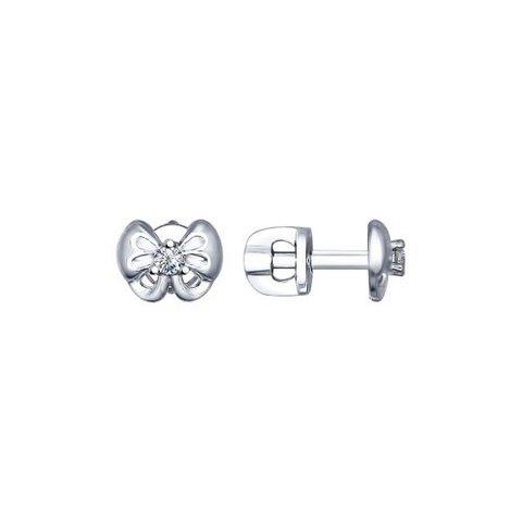 94022492 - Пусеты-бантики из серебра с фианитами