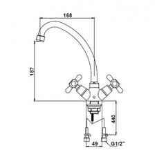 Смеситель KAISER Carlson Style 11133 для кухни схема