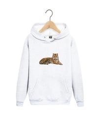 Толстовка белая 003 с капюшоном (худи, кенгуру) и принтом Тигр (Tiger)