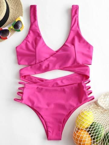 купальник раздельный с лямками ярко розовый