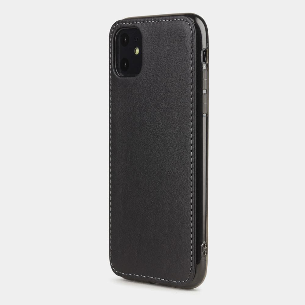 Чехол-накладка для iPhone 11 из натуральной кожи теленка, черного цвета