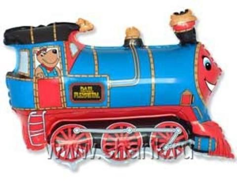 Фольгированный шар Поезд голубой