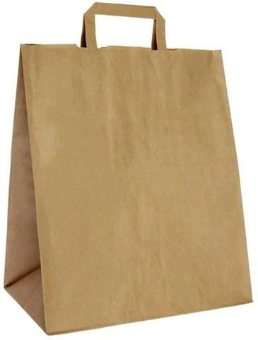 Пакеты бумажные 320х170х430 мм с плоскими ручками крафт 80