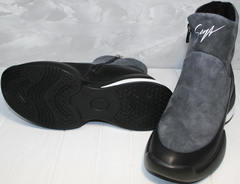 Женские зимние полусапожки италия Jina 7195 Leather Black-Gray