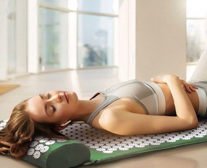 Массажный коврик (аппликатор Кузнецова) + подушка (зелёный) Фото №4