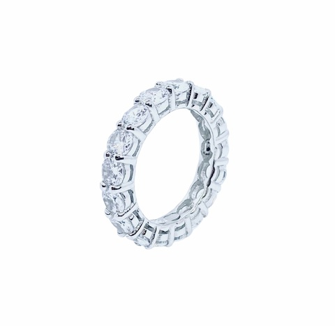 91651- Кольцо-дорожка из серебра с цирконами бриллиантовой огранки, d 4мм