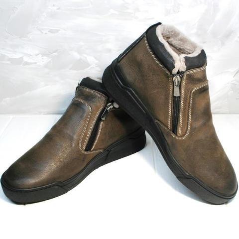 Кожаные ботинки мужские зимние. Коричневые зимние ботинки на цигейке Rifellini Rovigo BB