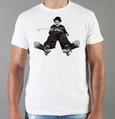 Футболка с принтом Чарли Чаплин (Charlie Chaplin) белая 005