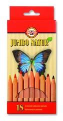 Карандаши цветные неокрашенный корпус jumbo NATUR 2173, 18 цветов