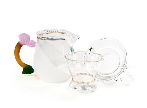 Набор из жаропрочного стекла для заваривания чая «Лето» с матовыми вставками. Интернет магазин чая