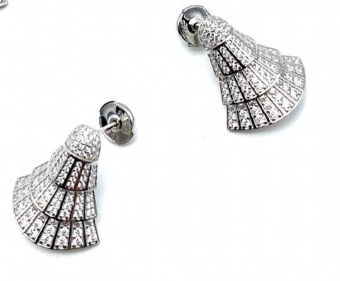 89035- Серьги Веер маленькие из серебра с микроцирконами