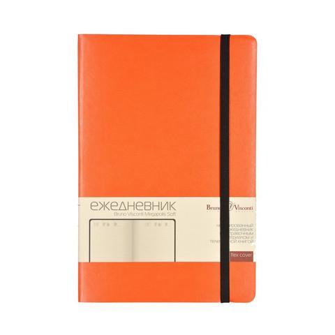Ежедневник недатированный Bruno Visconti Megapolis Soft искусственная кожа А5 136 листов оранжевый (черный обрез, 144х212 мм)