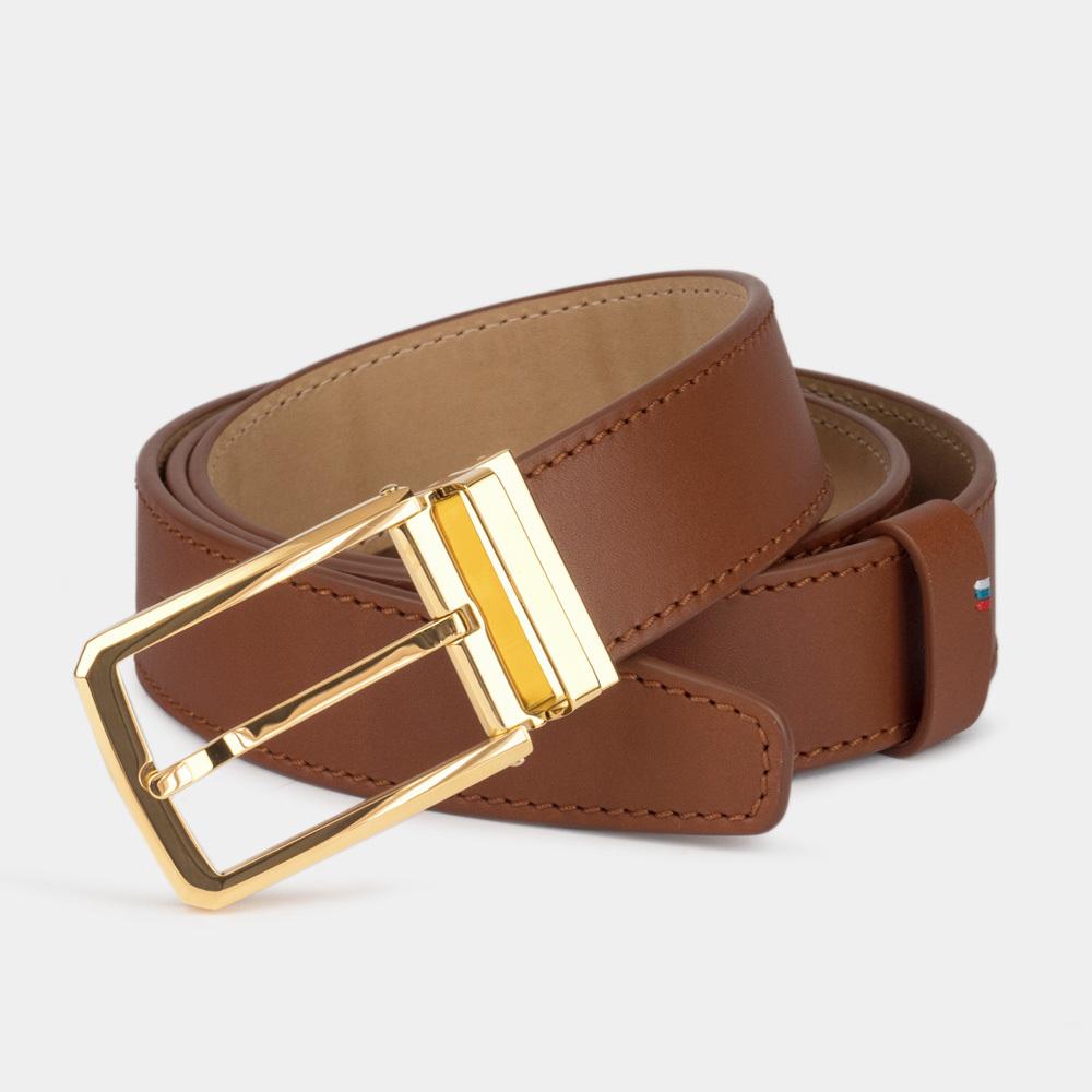 Ремень кожаный мужской коричневого цвета ширина 35мм с золотой пряжкой