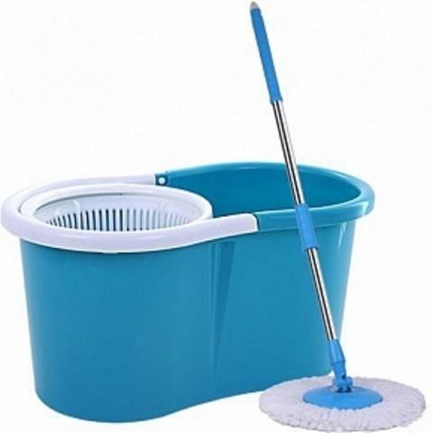 Универсальная швабра с отжимом Spin And Go 2 c ведром голубая