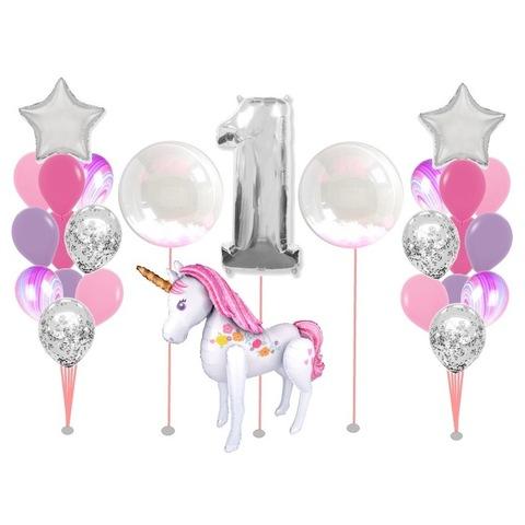 Композиция из воздушных шаров на годик девочке с единорогом в розово-сиреневой гамме