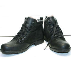Теплые мужские ботинки на зиму Luciano Bellini 6057-58K Black Leathers & Nubuk.