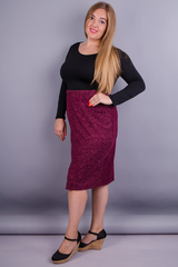 Клер. Стильная юбка больших размеров. Бордо.