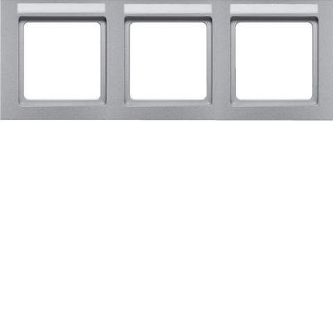 Рамка на 3 поста с полем для надписей горизонтальная. Цвет Алюминий. Berker (Беркер). Q.3. 10236094