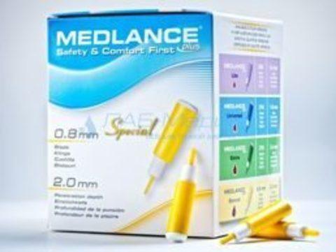 Ланцет Медланс плюс Спешиал глубина прокола 2.0. лезвие 0.8 мм (Medlance plus Special 0.8 mm) для капиллярного забора крови, желтый, 200шт/уп HTL-STREFA S.A., Польша