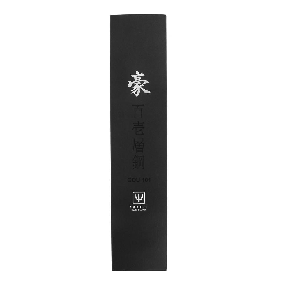 Нож кухонный Сантоку 16,5 см, с углублениями на лезвии, «Santoku», дамасская сталь, серия Gou, YA37001G, YAXELL, Япония - фотография