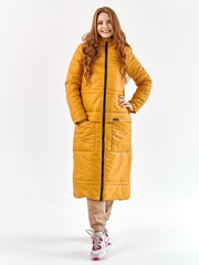 Женское пальто еврозима Макси горчица
