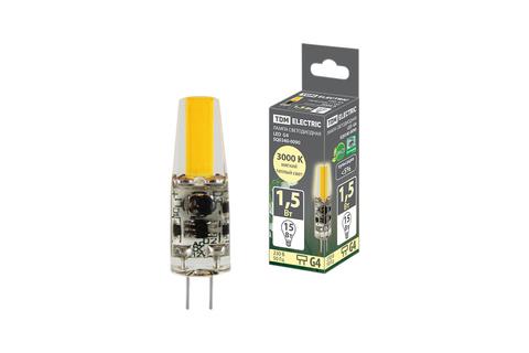 Лампа светодиодная G4-1,5 Вт-AC/DC 12 В-3000 К, COB, 9,5х36 мм TDM