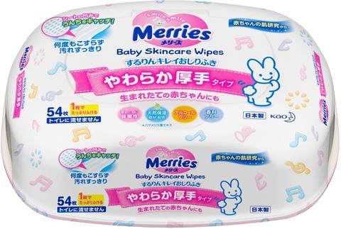 Салфетки влажные Merries в пластиковом боксе 54 шт