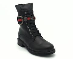 Черные кожаные ботинки на высокой шнуровке